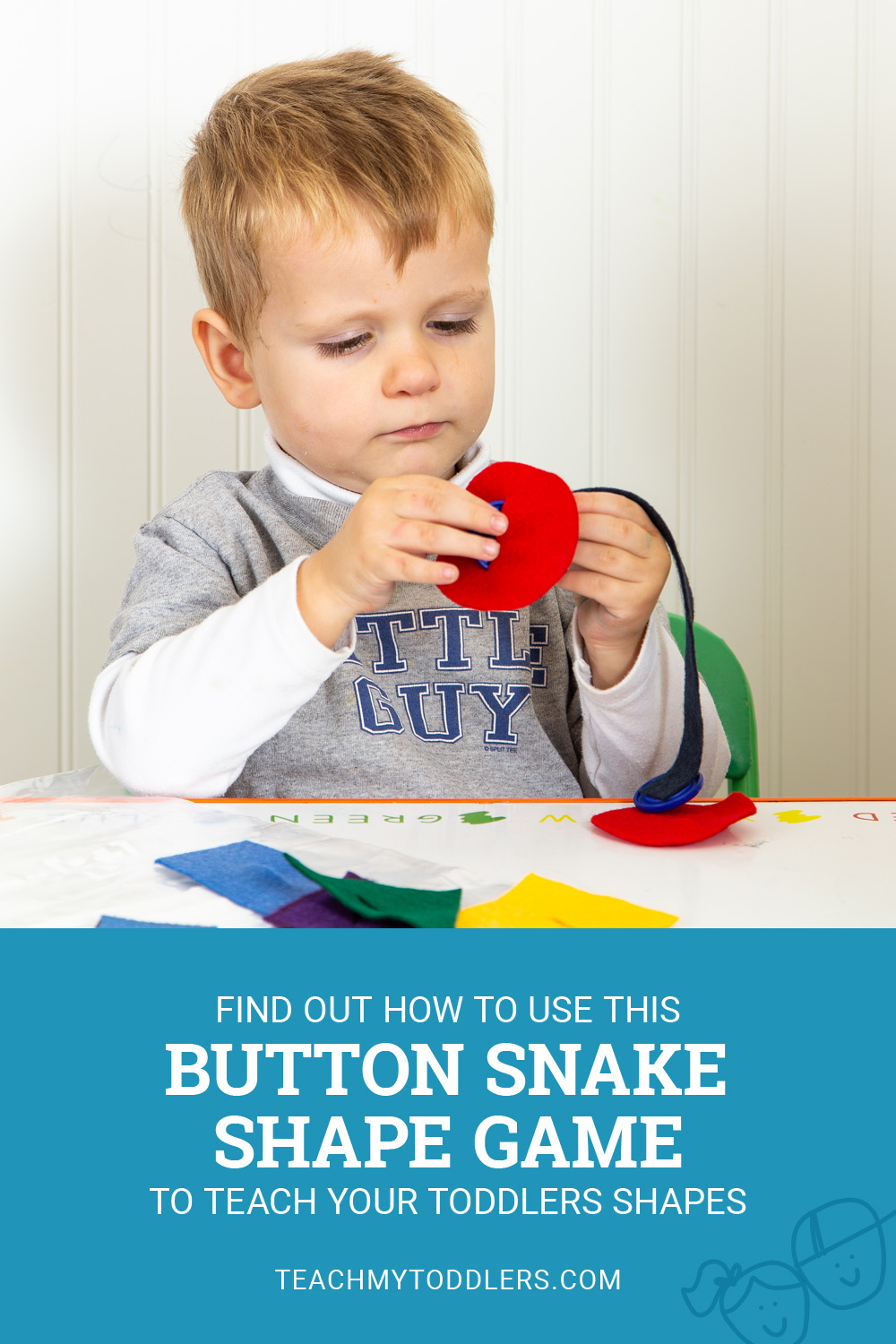 Find out how to use this button snake shape game to teach your toddlers shapes