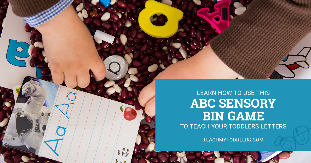 Learn how to use this abc sensory bin letter game to teach toddlers letters