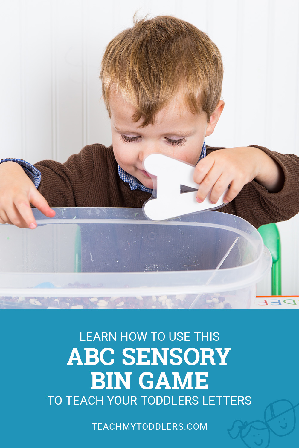 Learn how to use this abc sensory bin letter game to teach your toddlers letters