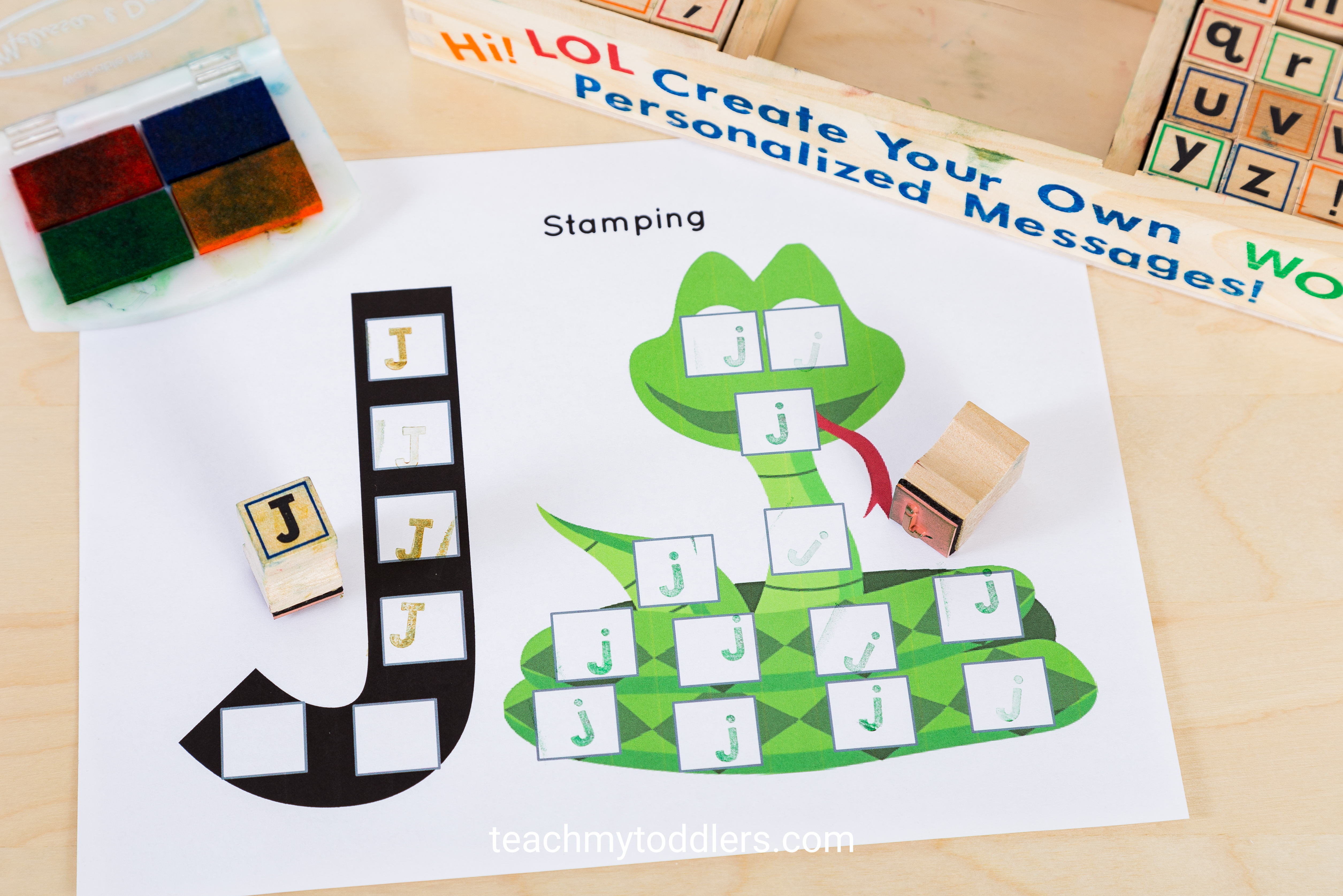 These alphabet stamps are a fun way to teach toddlers letters