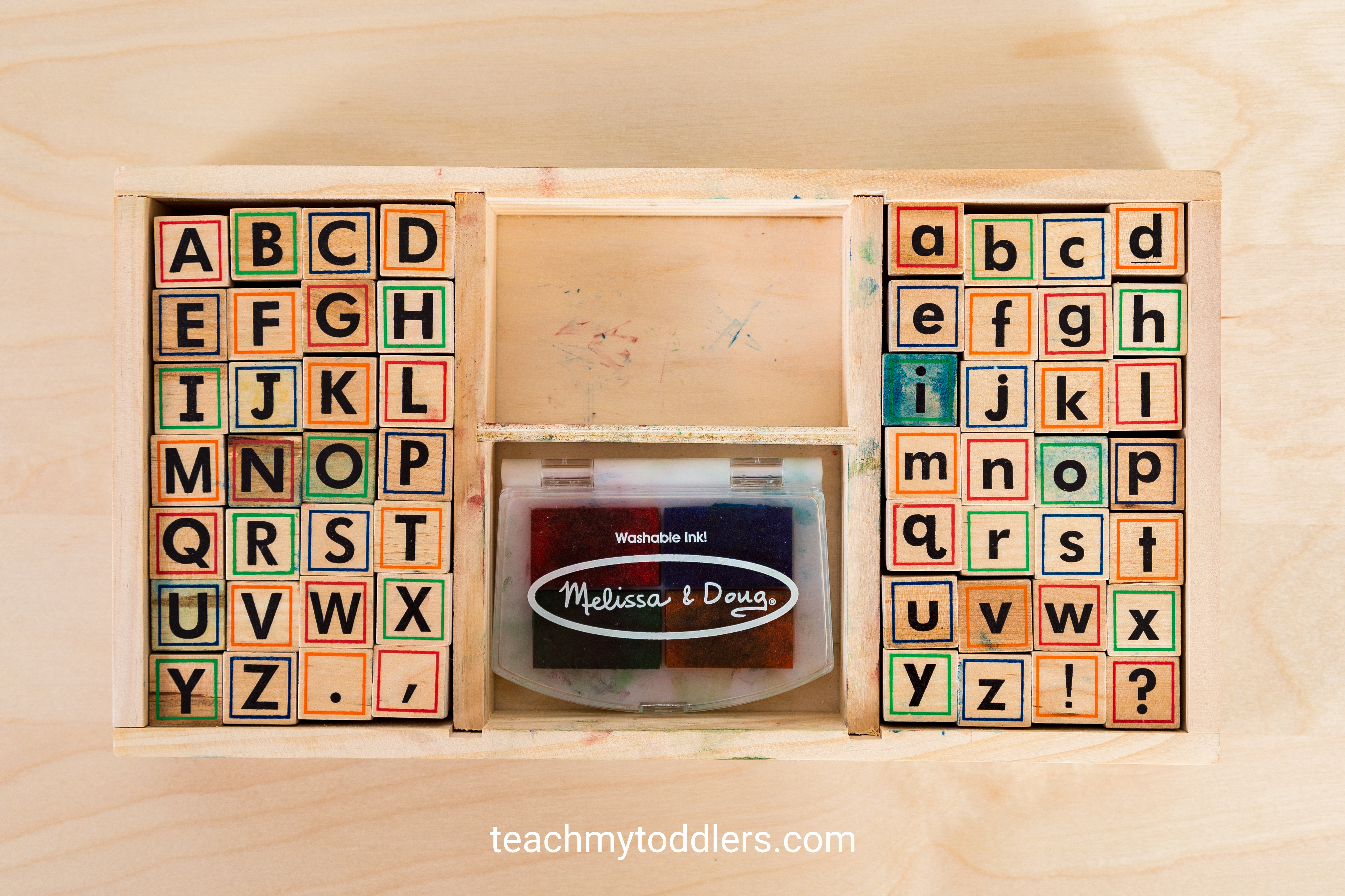 These alphabet stamps are a hands on way to teach toddlers letters