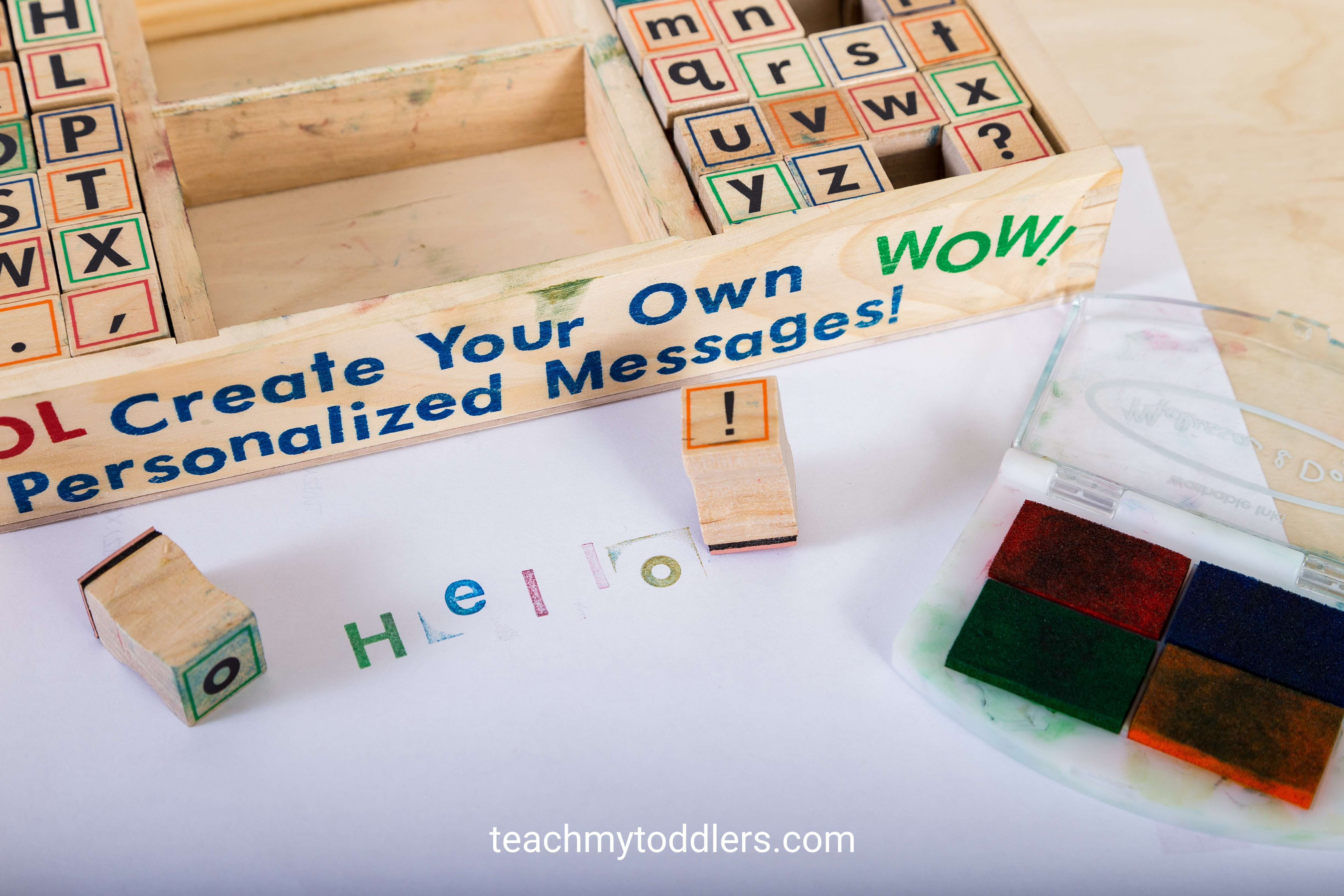 These alphabet stamps are a hands on way to teach your toddlers letters