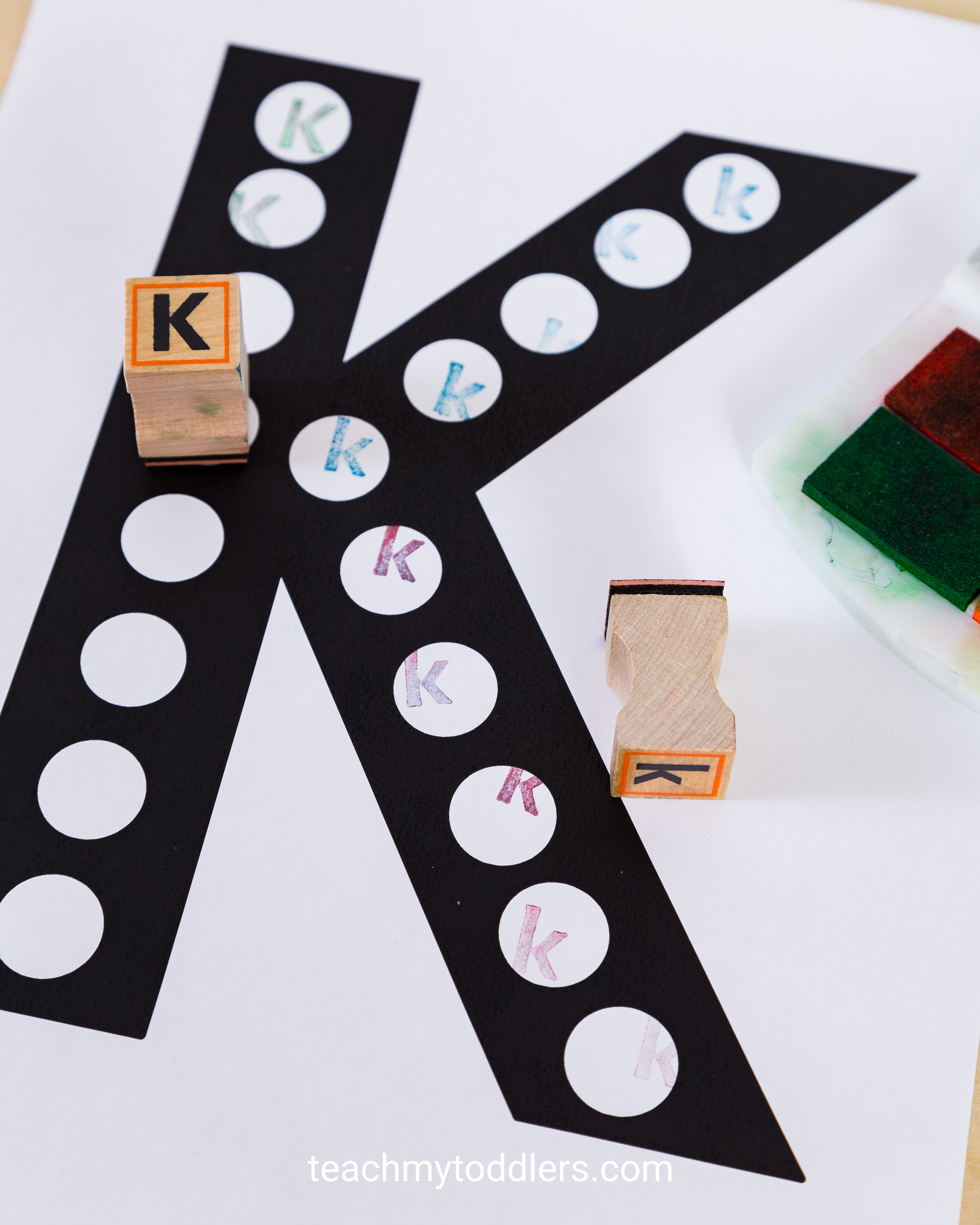 These alphabet stamps are an exciting way to teach toddlers letters