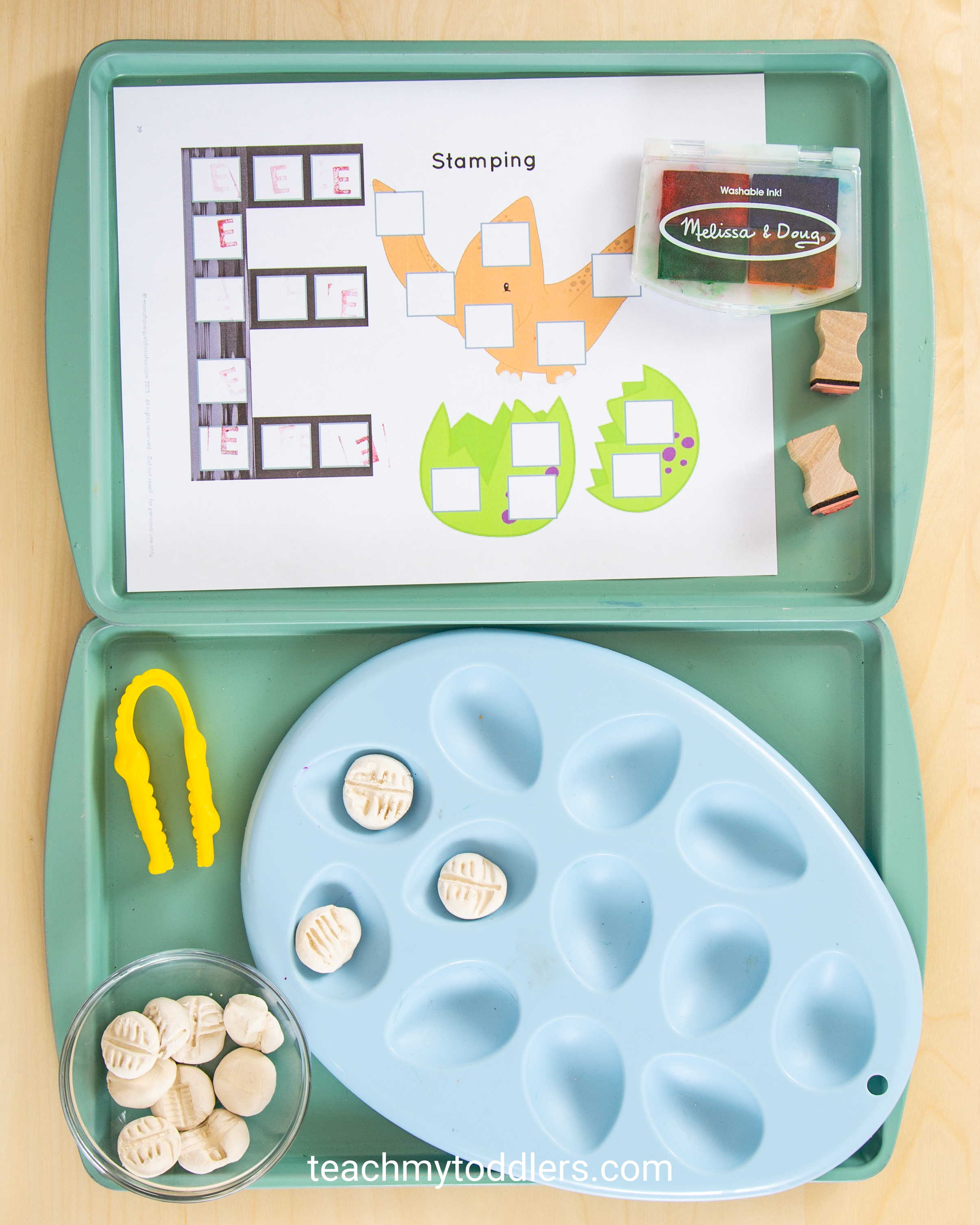 These toddler trays are awesome for teaching toddler the letter e is for extinct