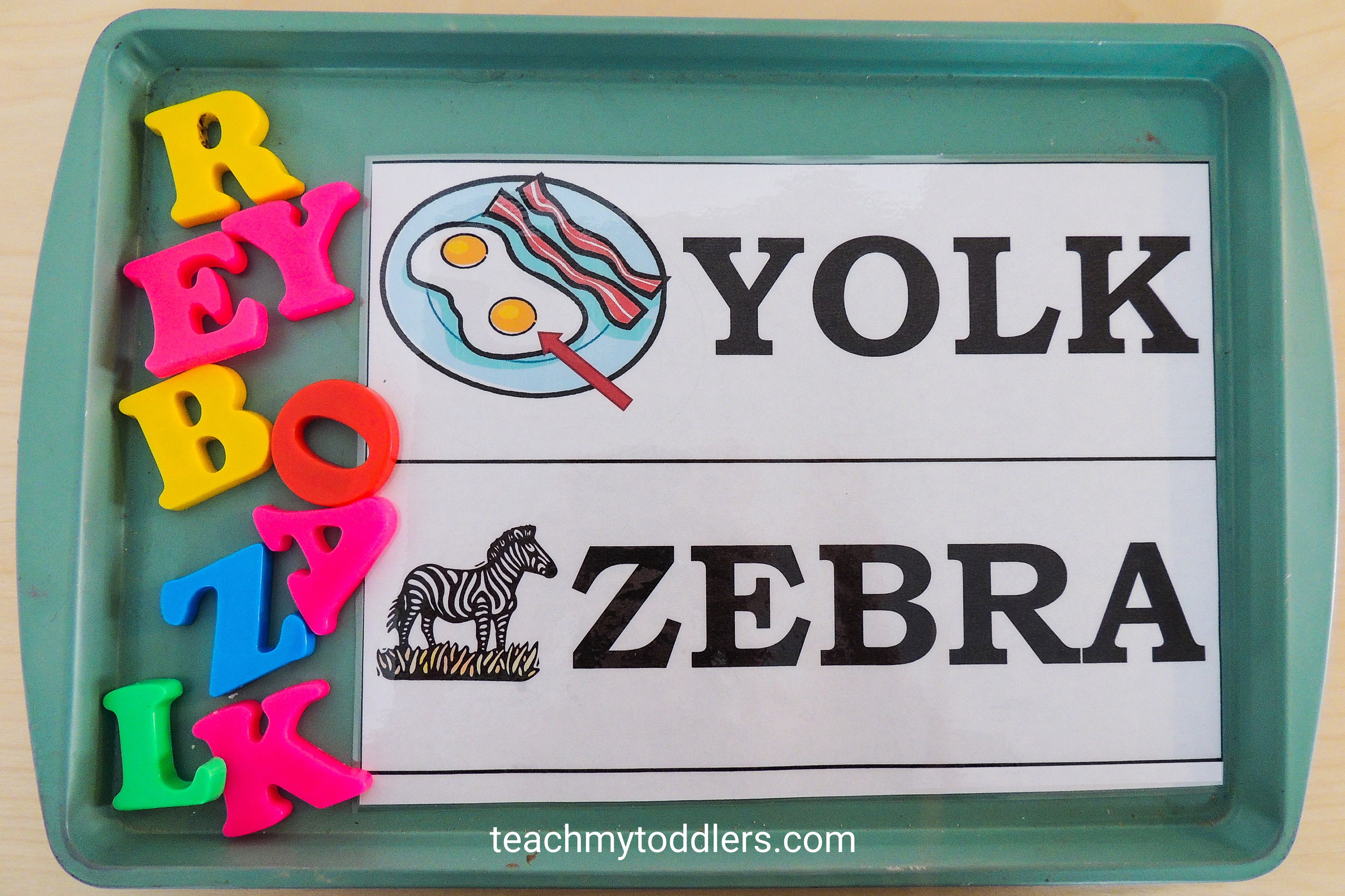 Discover how to use this magnetic match game to teach your toddlers letters