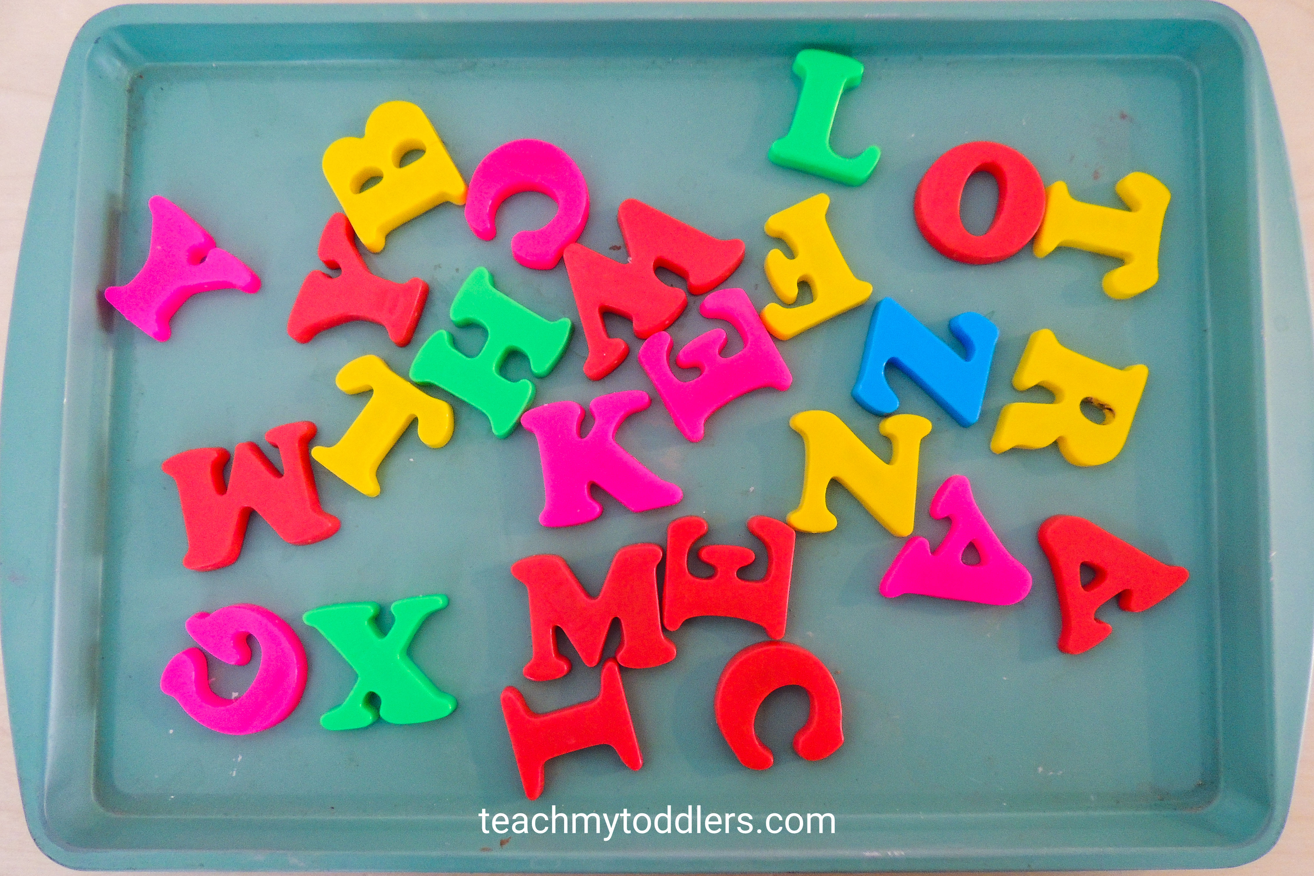 Find out how to use this magnetic match game to teach your toddlers letters