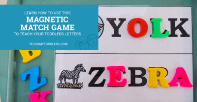 Learn how to use this magnetic match game to teach your toddlers letters