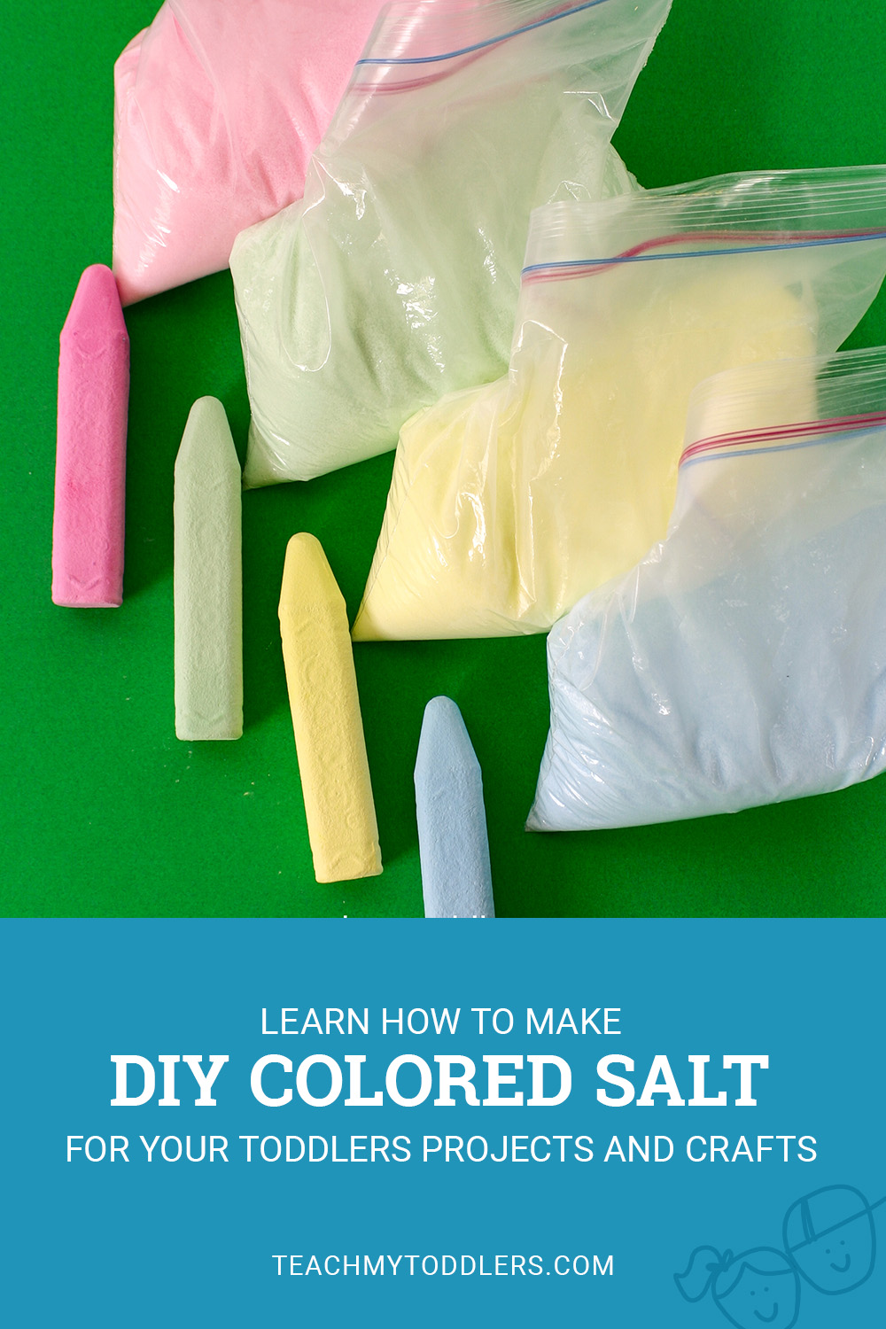 Learn how to make diy colored salt for teach my toddler projects