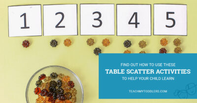 Learn how to use these table scatter activities to teach your toddlers math