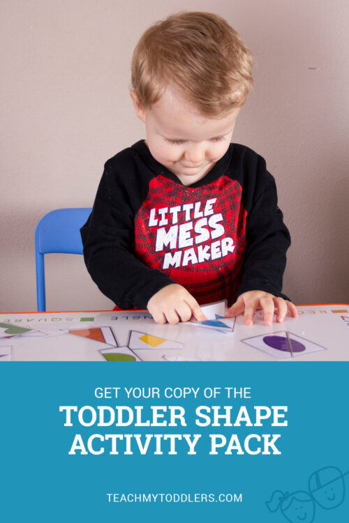 Get your copy of the toddler shapes activity pack and help your toddler learn about shapes