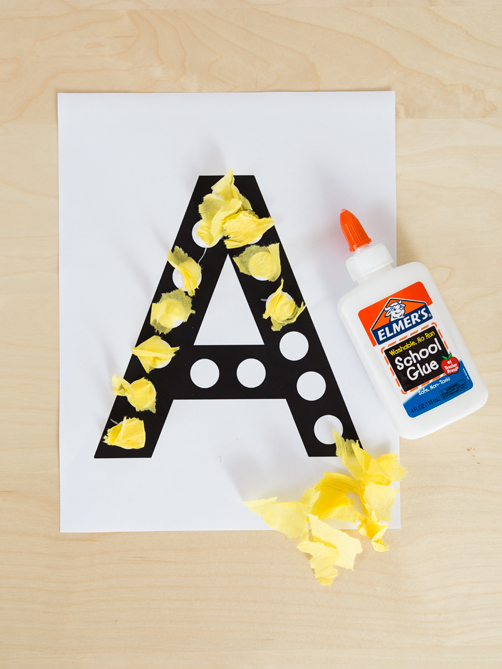 Letter A activity in the Toddler Alphabet Curriculum