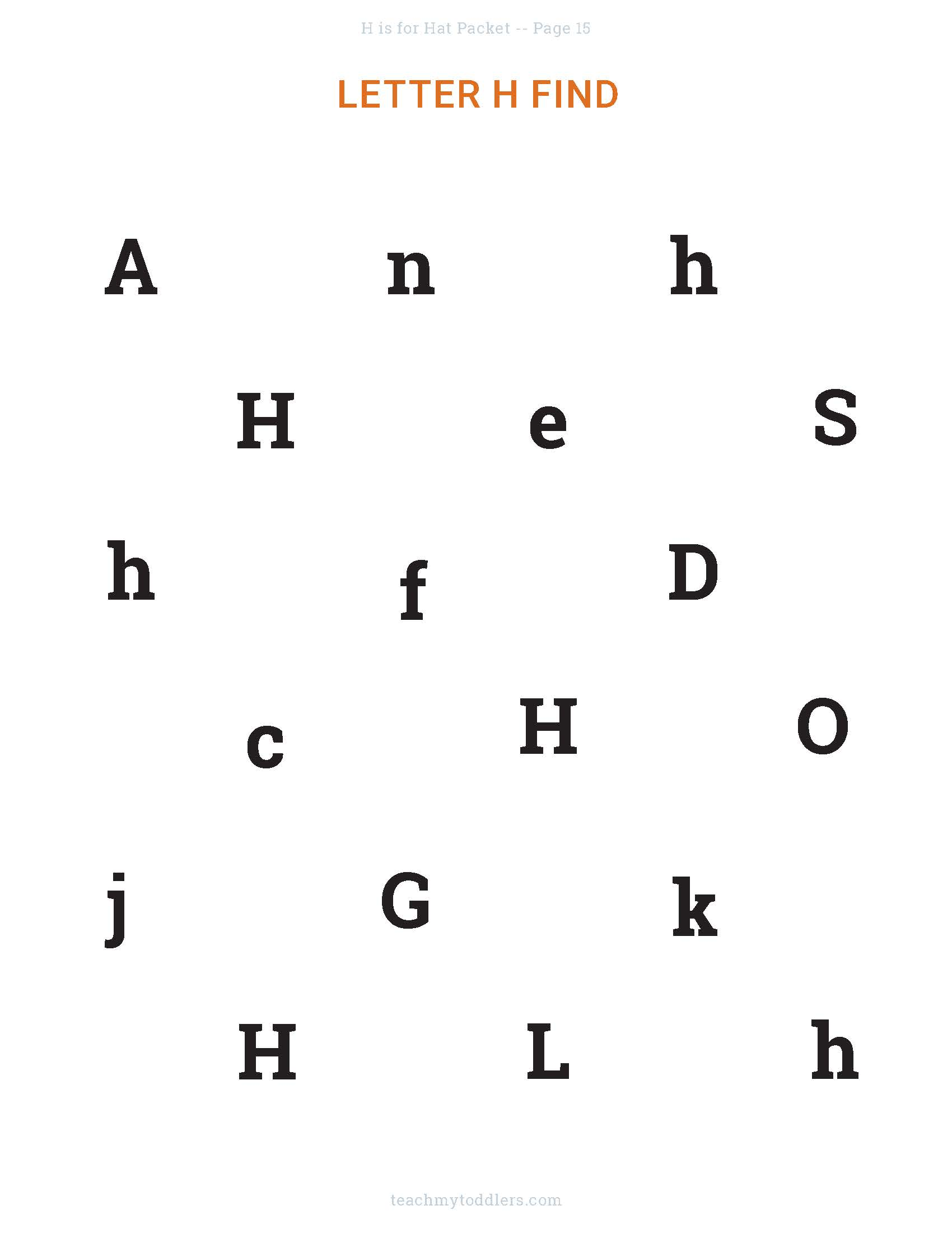 Letter H find the letter activity
