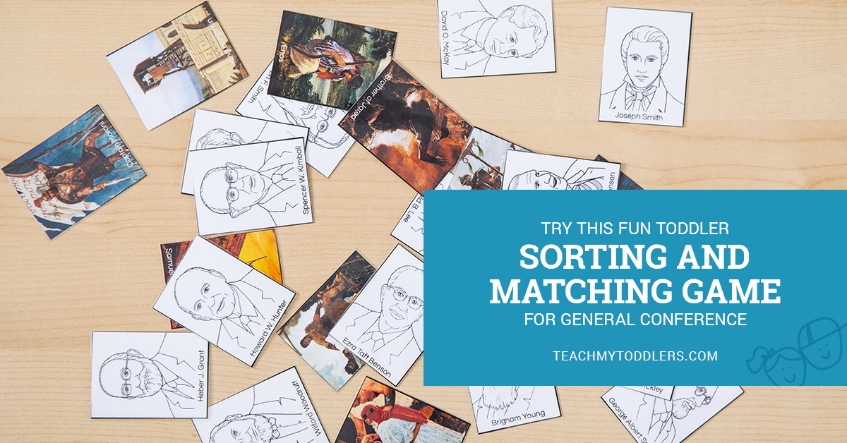 LDS General Conference ancient and modern prophets sorting and matching game for toddlers