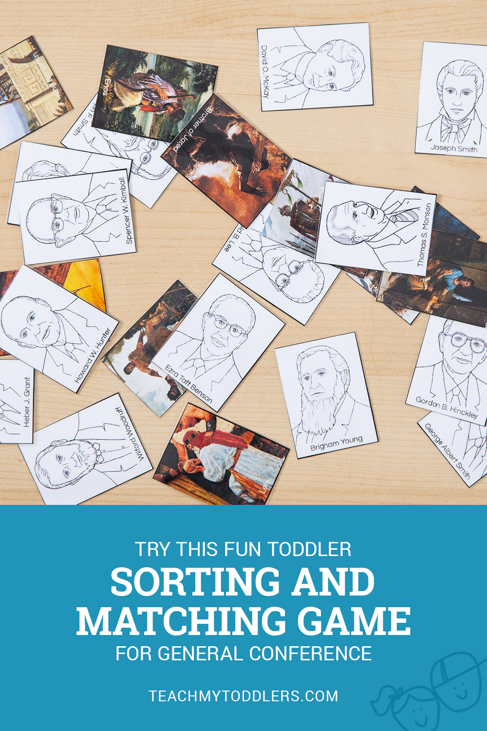 Try this fun LDS General Conference ancient and modern prophets sorting and matching game for toddlers